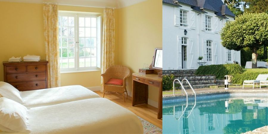 Yellow bedroom and swimming pool.