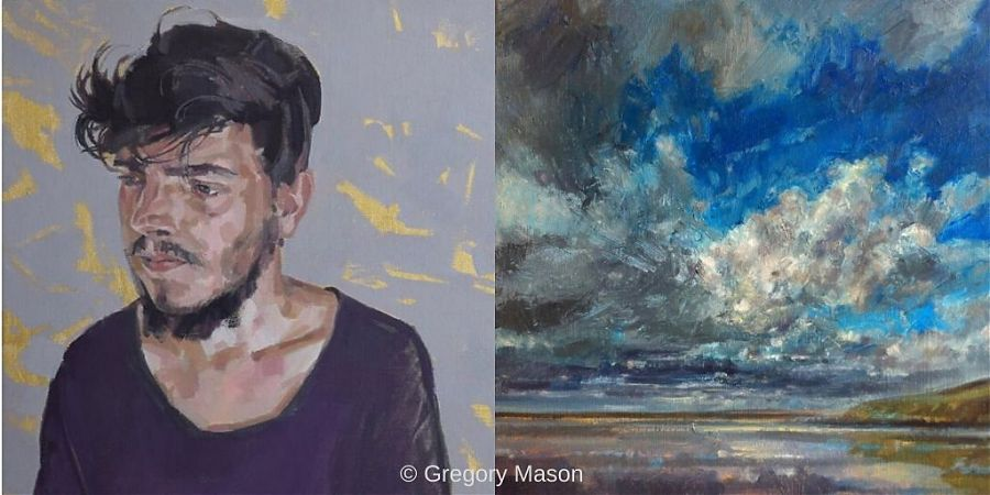 Two paintings, man and sky scene.