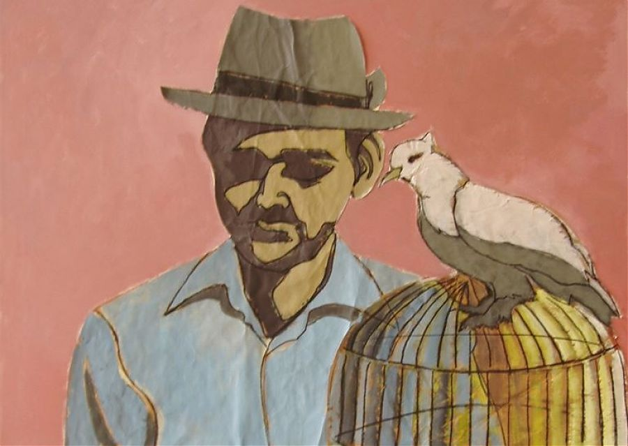 Painting of man in hat with a bird and birdcage.