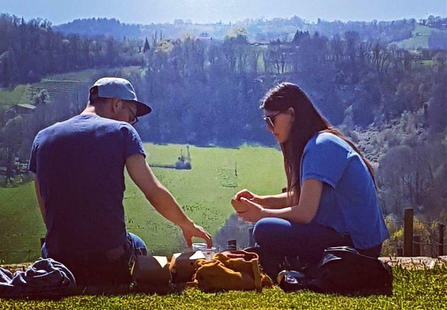 Man and woman having a picnic.