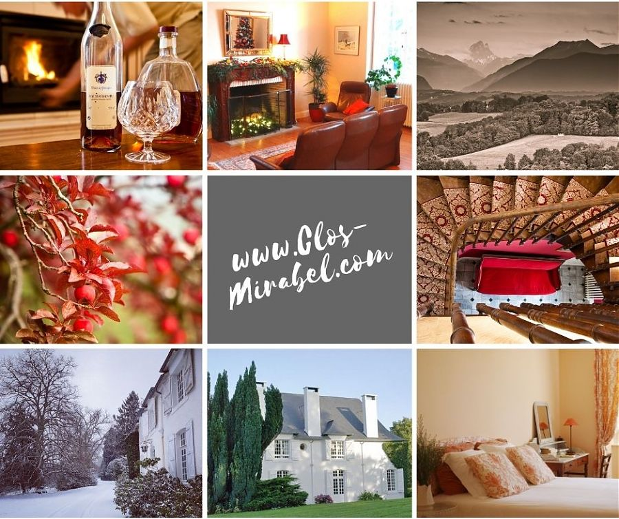 Montage des images, maison, montagnes, jardin en hiver.
