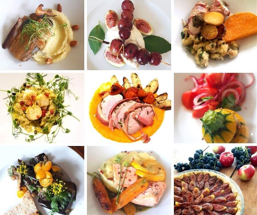 Neuf images de nourriture.