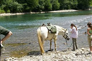 Horse riding by the river in Pau