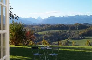 The Manor House Terrace with view of the Pic d'Ossau.
