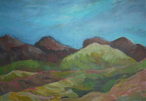 landscape painting of hills